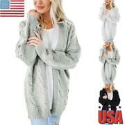 Women Cable Chunky Knit Cardigan Ladies Autumn Winter Warm Long Sleeve Coat Tops