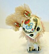 Vintage Asian Chinese Bobble Head Parade Dragon Hand Painted With White Fringe