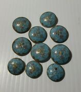 10 Victorian Turquoise Blue Glass Button Robinand039s Egg Gold Luster Flowers Painted