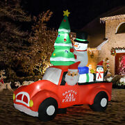 8ft Christmas Inflatable Decoration W/ Santa Claus Driving Car Outdoor Decor