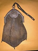 Antique Art Nouveau Silver Mesh Purse With Tiny Compact And Mirror