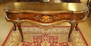 Great Early 20th Century Walnut Inlaid French Style Sideboard Server Buffet