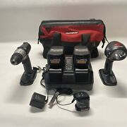 Craftsman Cordless 19.2 Volt Tool Set Drill Light 2 Battery Charger Bag Tested