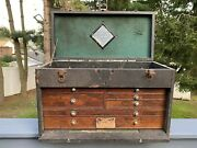 Vintage Oak Wood Leather Gerstner And Sons Machinest Tool Chest 7 Draw Box