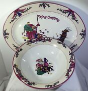 Gei Merry Christmas Santa 14 Oval Platter And 9.5 Serving Bowl - Preowned