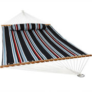 Sunnydaze 2-person Quilted Spreader Bar Hammock Bed And Pillow - Nautical Stripe