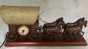 Vintage United Stagecoach Brass Driver And Horses Clock And Light