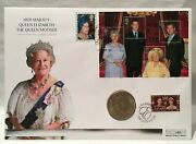 The Queen Mother Memorial Silver Coin Cover + 6 Stamps And Cert Of Authenticity