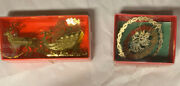 Christmas Ornaments Solid Brass - Angel And Santaandrsquos Sleigh. Preowned