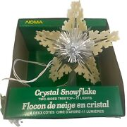 Vintage Noma Mcm Two-sided Crystal Snowflake Christmas Tree Topper 11 Lts Works