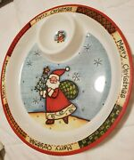 Rare New Large 14.5 Merry Christmas Santa Claus Plate Bowl Chips And Dip Platter