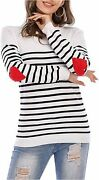 Shermie Women's Crew Neck Pullover Sweaters With Cute Red, White, Size Large
