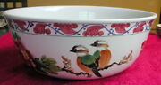 Asian Chinese Zhongguo Hand Painted Birds Floral 13 Large Centerpiece Bowl