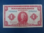 1943 Netherlands Ww2 1 Gulden Banknote-american Banknote Company-21-755
