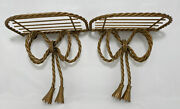 2 Home Interior Gold Metal Twisted Rope Ribbon Bow Shelves Vintage 7.25h X 7w