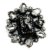 Russian Shungite And Herkimer Diamond 925 Silver Ring Xgb S.7 Br98831