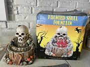 Haunted Skull Fountain Halloween Table Accent Fake Blood Scary Party Decor W/box