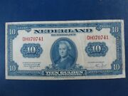 1943 Netherlands Ww2 10 Gulden Banknote-american Banknote Company-21-761