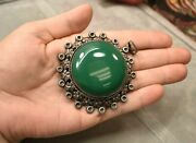 Antique Sterling Mexico Huge Green Onyx 3 Inch Pendant Eagle 3