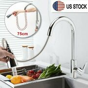 Us Brushed Kitchen Sink Faucet Pull Out Sprayer Single Hole Swivel Mixer Tap New