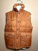 70and039s Vintage Sigallo Retro Color Water Proof Insulated Puffer Snap Vest Small