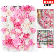 Artificial Silk Rose Flowers Wall Panel 40x60cm Wedding Party Floral Wall Decor