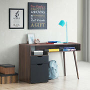 Computer Desk Pc Writing Table Study Workstation Drawer And Cabinet With Wood Legs