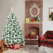 4.5ft Snow Flocked Christmas Tree Hinged Artificial Pine Tree W/ Metal Stand