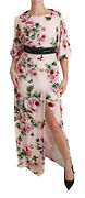 Dolce And Gabbana Robe Rose Roses Papillon Dg Logo Ouverture It42/us8/m