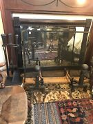 Complete Antique Arts Crafts Fireplace Hearth Set Andirons Screen Tools 1920s