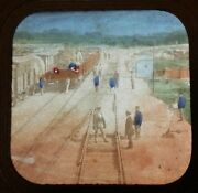 1860s Stereoview French Tissue Train Depot Railroad Track Switch Men Occupationa