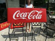Vintage Original 1940and039s Coca Cola Porcelain Sled Sign Large 68and039and039 By 24and039and039