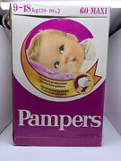 Vintage Rare Pampers '80s With 60x Maxi 9-18kg 20-40 Lbs West Germany New Sealed