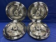 """Vintage Set Of 4 1953-55 Oldsmobile Deluxe 15"""" Spinner Hubcaps 88 98 Good Cond."""