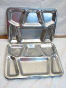 Vintage Post-ww2 Steel Cafeteria Lunch Trays Us 1951 Mess Hall Cafe Navy Fip