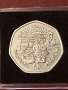 1996 Gibraltar 50p Christmas Coin Santa Claus With Biplane Unc In Capsule