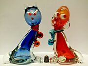 Two Very Colectable Vintage Murano/ Venetian Glass Cat And Droopy Dog Figurines