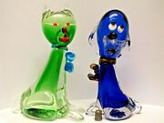 Two Very Collectable Vintage Murano / Venetian Glass Cat And Droopy Dog Figurines