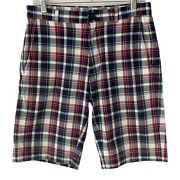 Brooks Brothers Mens Shorts Plaid Madras Red Blue Green Size 30 100 Cotton
