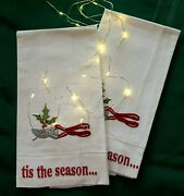 Pair Of Christmas Tea Towels Holly Tis The Season New With Tag