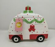 Holly And Joy Ceramic Retro Holiday Vintage Style Camper Cookie Jar Nwt
