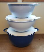Tupperware Thatsa Bowls 19 32 And 42 Cup Mixing Storage Serving Blues