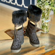 Coach Women's 'lorna' Logo Suede And Fur Trim Boots In Black Size 7
