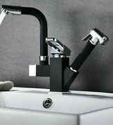 Pull Out Black Chrome Kitchen Faucet Jet Sprayer For Dish Washing Hot Cold Water