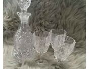 Pressed Glass Decanter And 3 Wine Glasses