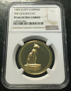 Egypt 100 Pounds 1989 Gold Ngc Pf66uc The Golden Cat