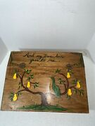Vintage Distressed Hinged Wooden Bible Box Quail Pear Tree And My True Love