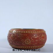 7.1 China Porcelain Qing Dynasty Qianlong Mark Red Eight Immortals Brush Washer