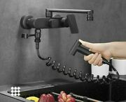 Wall Mounted Faucet For Kitchen Sink With Hose Hot Cold Water Mixer 360 Rotation