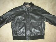 Type A-2 Flyerand039s Mens Xl Bomber Brown Leather Jacket Us Army Air Force Map